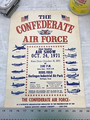 Confederate Air Force Poster Ghost Squadron CAF 1971 Airsho Flyer Air Fiesta RGV