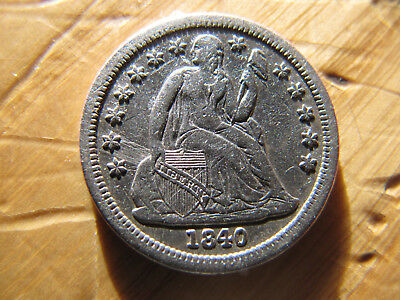 1840 Silver Seated Liberty Dime 10 Cents with Drapery