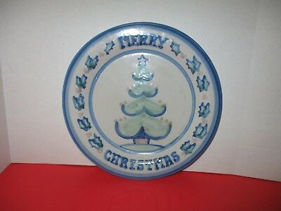 """M.A. Hadley 13"""" MERRY CHRISTMAS Service / Chop Plate / Cookie / Cake Platter"""