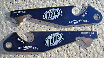 (2 Lot) MILLER LITE Beer Bottle PUNCH TOP CAN Bottle OPENER Pop shirt basketball