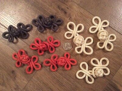 Sewing Lot of 8 Chinese FROG KNOT CLOSURE FASTENERS BUTTONS. Grey, Ivory, Coral.