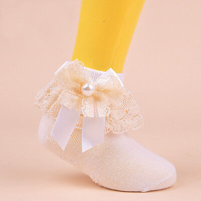 Milky White Girls Cotton Antiskid Kids Socks Lace Solid Hosiery For Age 6-8 Y