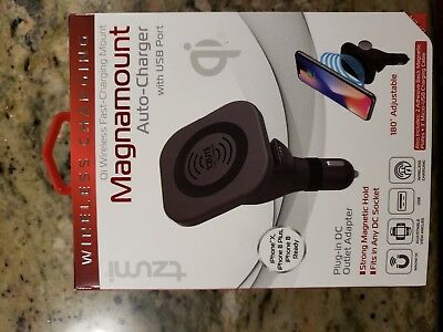 NEW Tzumi Magnamount Auto Charger Plug-in Outlet Adapter w/ USB Port Qi Wireless