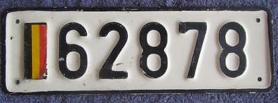 Belgium Army License/number Plate # 62878