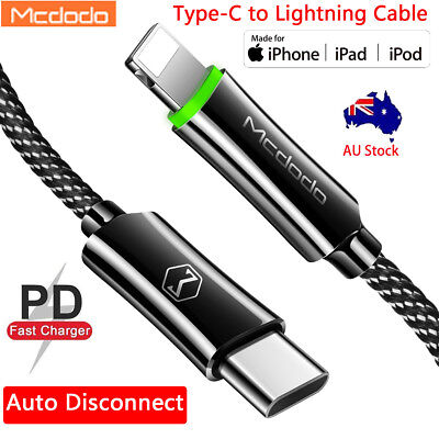 Auto Disconnect USB-C Type-C to Lightning PD Fast Charging Cable iPhone X 7 8 6s