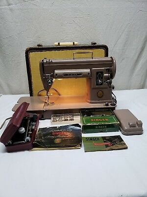 Vintage Singer 301A Sewing Machine + Buttonholer Carrying Case Pedal Working
