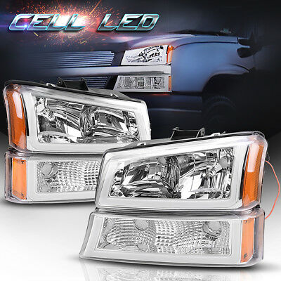 4Pcs For 2003-2006 Chevy Silverado Clear Side Headlights Headlamps W/Led Drl Us