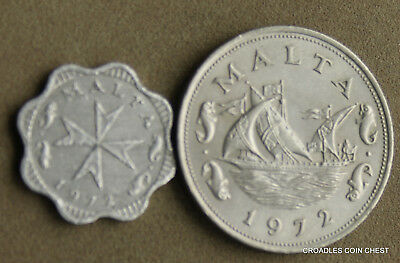 Malta Maltese Circulated 1972 2 And 10 Cent World Coins #wsz60