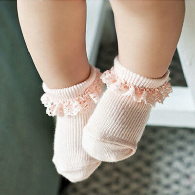 Pink Girls Soft Socks Lace Cotton Tights Cute Princess Children 2-4 years