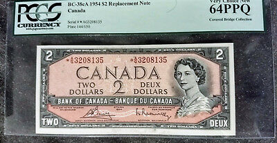 1954 Bank of Canada $2 *A/G Replacement Note - PCGS GEM NEW 64PPQ