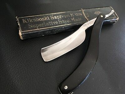 Vintage Japanese curved straight razor. Made by Kikuboshi and R.Saito