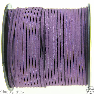 10yd 3mm purple Suede Leather String Jewelry Making Thread Cords hot