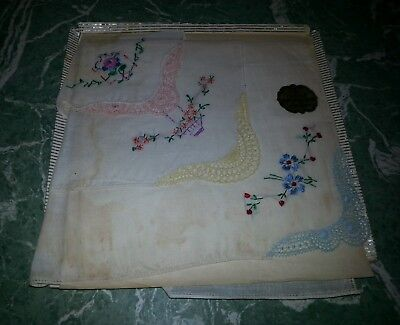 Vintage Boxed GIFT SET OF THREE HANKIES Embroidered Flowers, Pink, Yellow, Blue