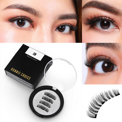 BONNIE CHOICE Magnetic False Eyelashes 3D Handmade Reusable Fake No-glue Makeup
