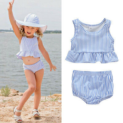 2PCS Newborn Baby Girls Striped Clothes Tops Dress+Shorts Summer Outfits  Set AU