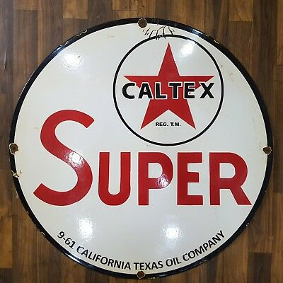 CALTEX SUPER Vintage Porcelain Sign APPROX 30 INCHES ROUND
