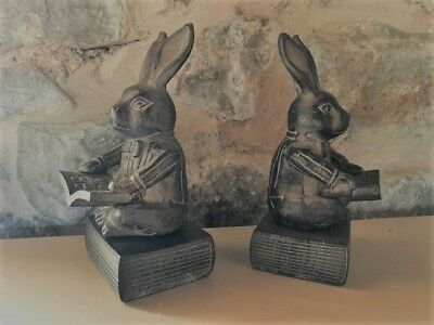 Beautiful Pair of RABBITS Reading a Book bookends