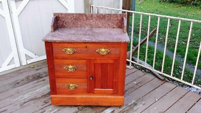 Antique Walnut Eastlake Victorian Marble Top Washstand w/ Backsplash