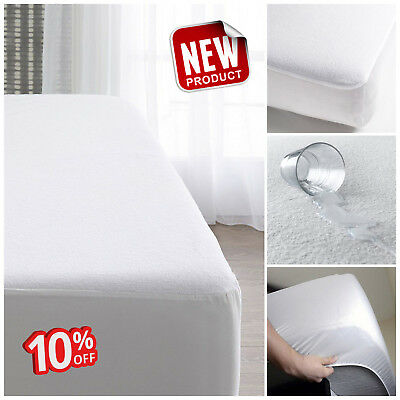 New Waterproof Fitted Mattress Protector Cover Sheet Single , Double & King Size