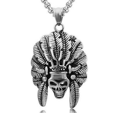 24ee2e56c2c77 Men Jewelry Stainless Steel Tribe Indian Chief Head Skull Punk Pendant  Necklace