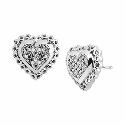 Sweetheart Earrings with Diamonds in Sterling Silver