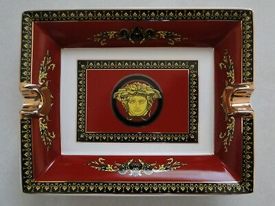 Versace Cigar Ashtray Excellent Unused Condition Rosenthal Burgundy Porcelain
