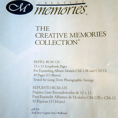 Creative memories 12 x 12 Scrapbook Pages Refill RCM 12S 30 pages BNIP