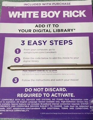 Whiteboy rick  Canadian Digital movie code only