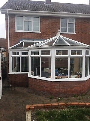 UPVC Victorian Glass Roofed Conservatory with Fresh Doors & Side Extension.