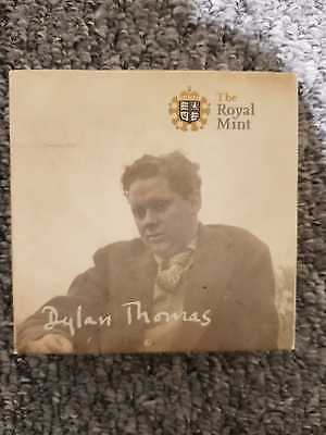 2014 Silver Proof Dylan Thomas £5 Coin And Box Coa