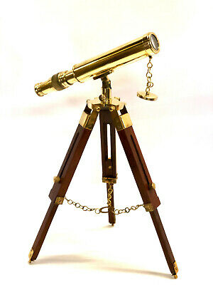 """Brass Telescope On a Wooden Tripod Stand 18"""" Tube Length  ~ Maritime"""