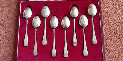 cased set of 8 hallmarked 1973 silver picture back tea spoons centenary edition
