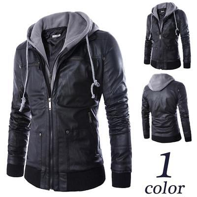 Men Detachable Zipper Hooded Leather Thick Fur Jacket Motorcycle Outwear Top LH