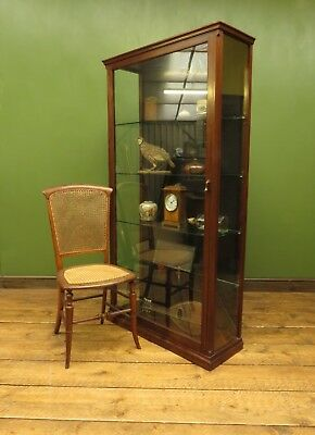Tall Antique Glazed Trophy Awards Display Cabinet with Glass Shelves