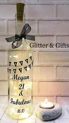 Birthday Gift Light Up Led Bottle 16Th 18Th 21St 30Th 50Th 60Th Personalised