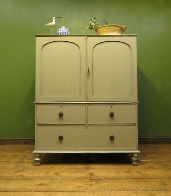 Antique Painted Linen Press Wardrobe Armoire Compact 2 part Piece