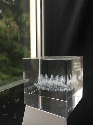3D Crystal Glass Paperweight Clear Hologram Laser-Etched By DOME 2000 & Stand