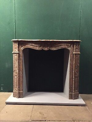 French Pompadour Chimney Piece Louis XV Rouge Royal Pure Marble Bronze Vents