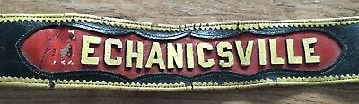 Antique Leather Fireman'S Parade Belt Mechanicsville New York 38""