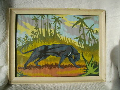 vintage black panther cat pbn paint by number canvas jungle tiki bar wall art
