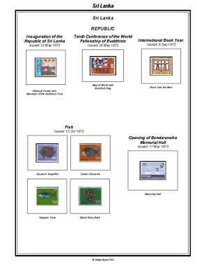 Print your own Sri Lanka Stamp Album, fully illustrated and annotated