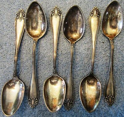 6 Vintage Rogers & Bro. Demitasse Spoons-Shield Pattern Silver Plate-Made in USA
