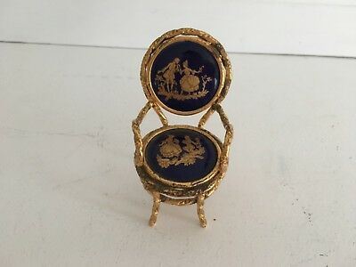 LIMOGES: 1950s Miniature French Blue and Gold Chair Ex. Perfect for Dollhouses