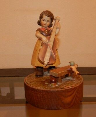 "Reuge ""Gigi"" Swiss Made 5"" Music Box Girl Playing Cello"