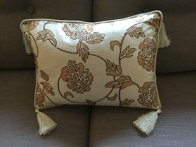 LAURA ASHLEY Silk Cushion with feather liner. Rectangle. Tassels. Piping. Gold