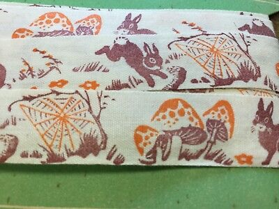 Vintage cotton White trim,ribbon on card,rabbits and mushrooms , 3 yds. Ruban