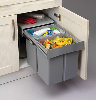 PULL OUT KITCHEN WASTE RECYLE SOFT CLOSE BIN 400MM HINGED DOOR UNIT brand new