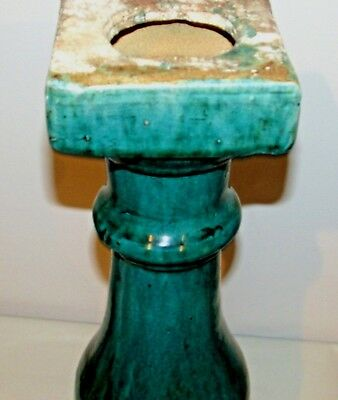 """Chinese Ceramic Baluster Post Spindle Green Glaze c.1900-1940 19"""" h x 6"""" w"""