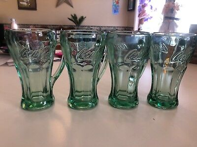 Coca Cola COKE Green Glass Mugs with Handles Libby Set of 4