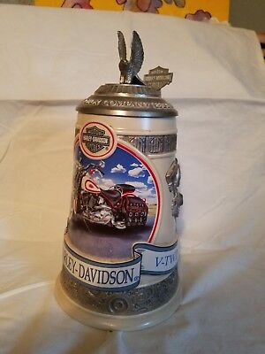 "Rare 1998 Harley Davidson Evolution Beer Mug Stein Large 10"" Evo Engine V-Twin"